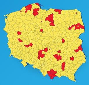 Mapa - strafa żółta